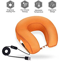 Graphene Times Heated Neck Pillow - Travel Neck Pillow With Memory Foam, Far-infrared Neck Therapy With Adjustable Temperature, U Shaped Perfect For Stiff & Sore Neck, Removable Cover and USB Cord