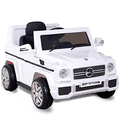 Costzon Kids Ride On Car, Licensed Mercedes Benz G65, 12V Electric RC Remote Control Car (White) (Licensed Car)