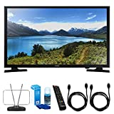 Samsung (UN32J4000) 32-Inch 720p LED TV w/ TV Cut the Cord Bundle Includes, Durable HDTV and FM Antenna, Universal Screen Cleaner & 2x 6ft High Speed HDMI Cable – Black