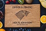 Personalized Cutting Board Dinner is coming Games of thrones House Stark Direwolf Engraved Custom Family chopping Wedding Gift Anniversary Housewarming Birthday
