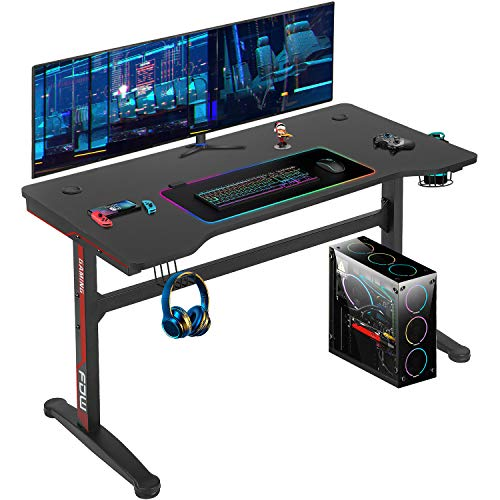 Computer Desk,Gaming Desk 45.2″/47.2'' Student PC Desk Office Desk Writing Desk Extra Large Modern Ergonomic Racing Style Table Workstation Carbon Fiber Cup Holder Headphone Hook (45.2 inches)