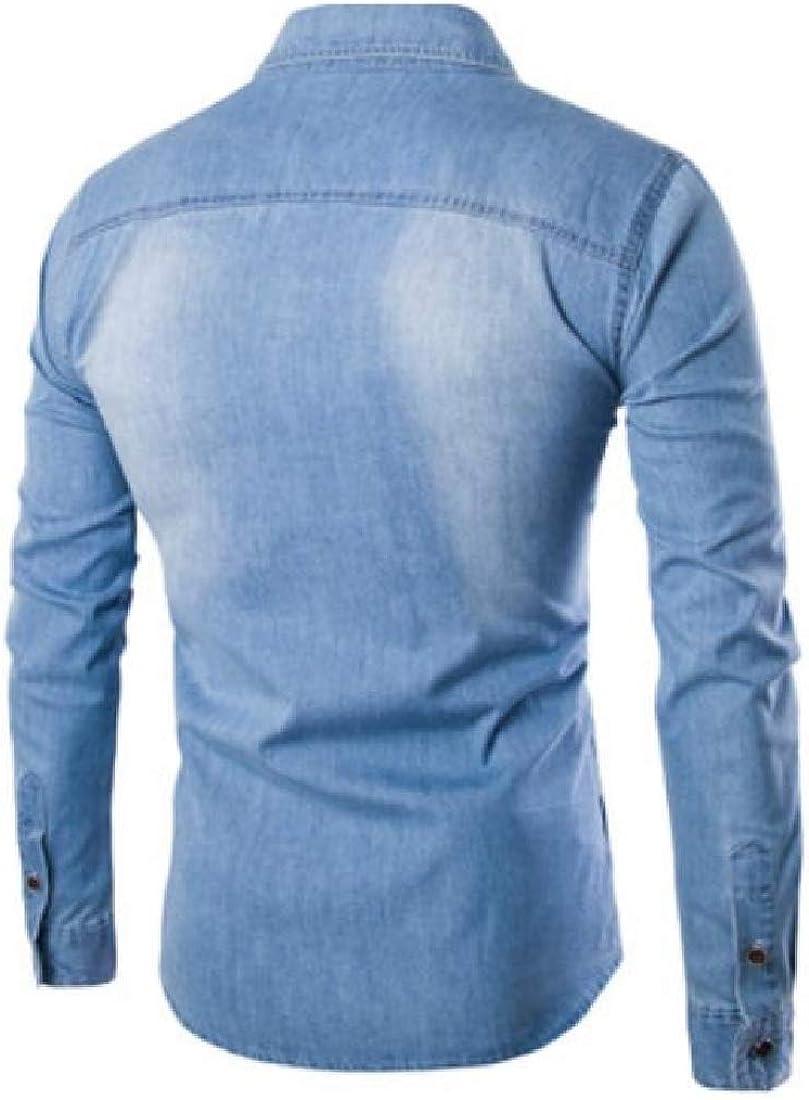 ouxiuli Mens Long Sleeve Solid Shirt Cotton Casual Shirt Work Slim Fit Denim Shirt