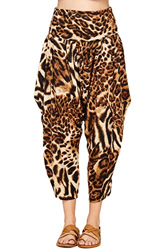 Tigers Womens Pants - Annabelle Womens High Waisted Elastic Waist Cheetah Tiger Printed Drop Crotch Harem Jogger Pants With Pockets Taupe X-Large P9025B