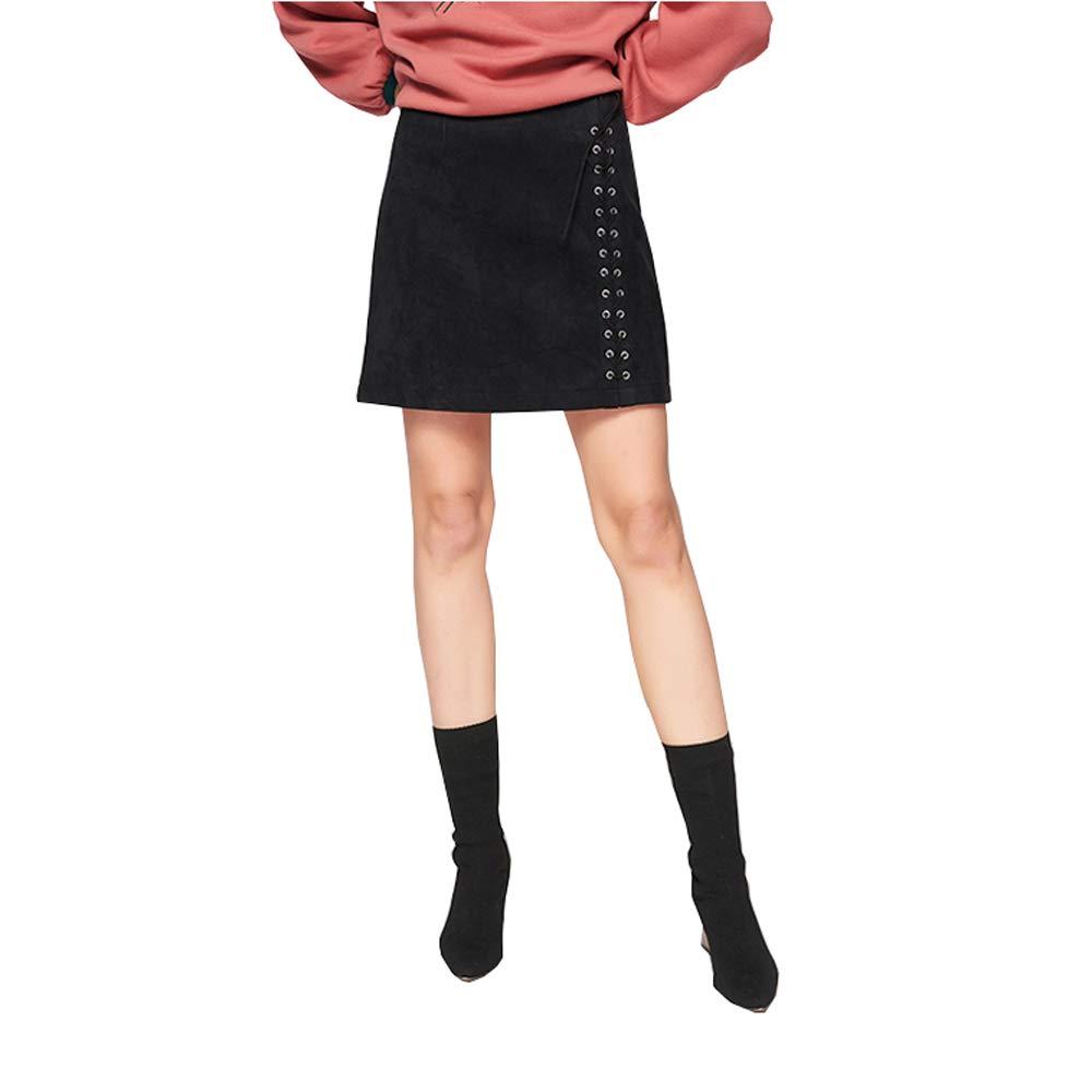 Black YONGMEI Black Skirt Slim Slimming Personality Straps Skirt Female Aline Skirt 007 (color   Black, Size   M)