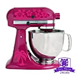Tropical Hawaiian Palm Tree and Flower Pattern Kitchen Stand Mixer Front & Back Decal Set - Hot-Pink