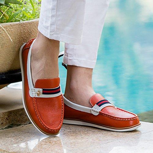Tda Mens Orsaksfärgblock Lätt Slip-on Förar Skor Strippa Dekoration Loafers Apelsin