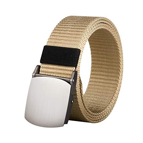 ZhangHongJ,Joker Simple Nylon Moda Casual Hebilla De Plata Cinturón De Lona(Color:Beige,Size:150 cm)