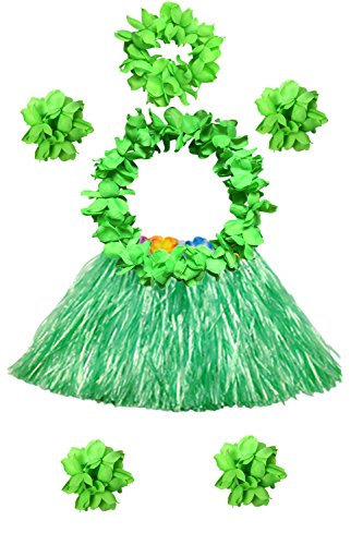 Hawaii 40cm Grass Skirt with Flowers Bracelets Headband Necklace Hula Set (7 PC -