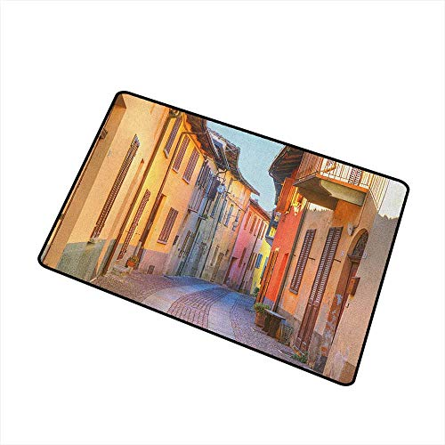 - Wang Hai Chuan Italy Welcome Door mat Narrow Paves Street Among Old Houses in Town Serralunga DAlba Piedmont Door mat is odorless and Durable W29.5 x L39.4 Inch Pale Orange Brown Pink
