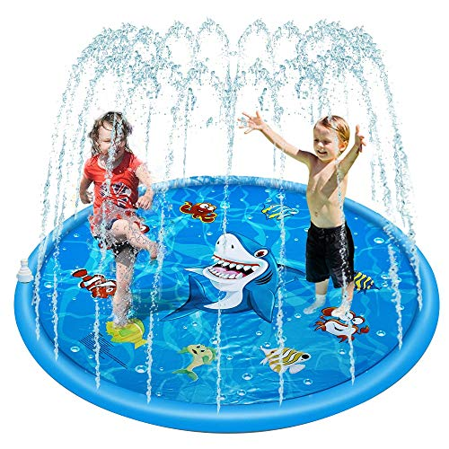 GeeYoung Sprinkle and Splash Play Mat 2019 Durable PVC Eco-Friendly Material 60In Splash Pad Sprinkler Cushion Water Park for Baby Children Beach Outdoor Garden Lawn Summer Water Toy