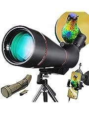 LAKWAR 25-75x100mm Spotting Scope Voor Vogelkijken, Volledig Multi-coated BAK4 Porror Prisma Monoculaire Waterpoof en Mistbestendige Telescoop Met Verstelbaar Statief, Beschermende Tas en Telefoon Mount