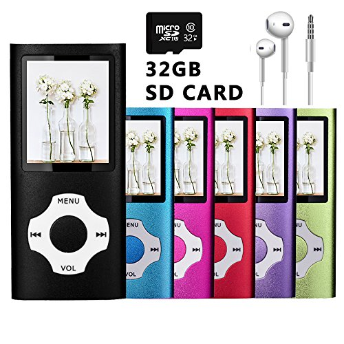 VOLGER DIGITAL 32GB Versatile Mini MP3 MP4 Music Player Internal Micro SD Card Lossless Sound Hi-Fi Entry Video Movie Player FM Radio Voice Recording Photo Viewer E-book Reader Media Player - Top Spring Songs Break