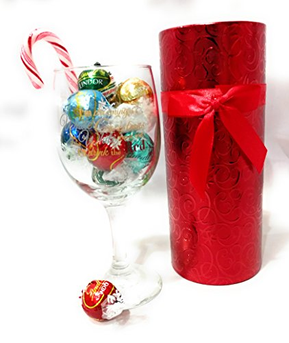 Lindor Truffles in Wine Glass Gift Set: Chocolates and Holiday Wine Glass Gift for Wine Lovers