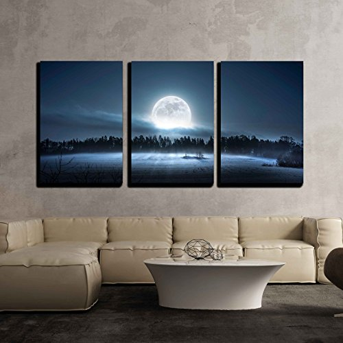 the Moon Rising over the Forest and Meadow in the Cold and Misty Morning x3 Panels