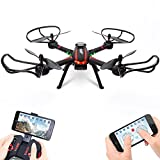 Drone, OOTTOO RC Headless WiFi FPV 2MP HD Camera Quadcopter 2.4GHz 4CH 6-Axis Gyro Phone App Control UAV with 1100mah Battery High Pressure Diy Toy for Kids -Black