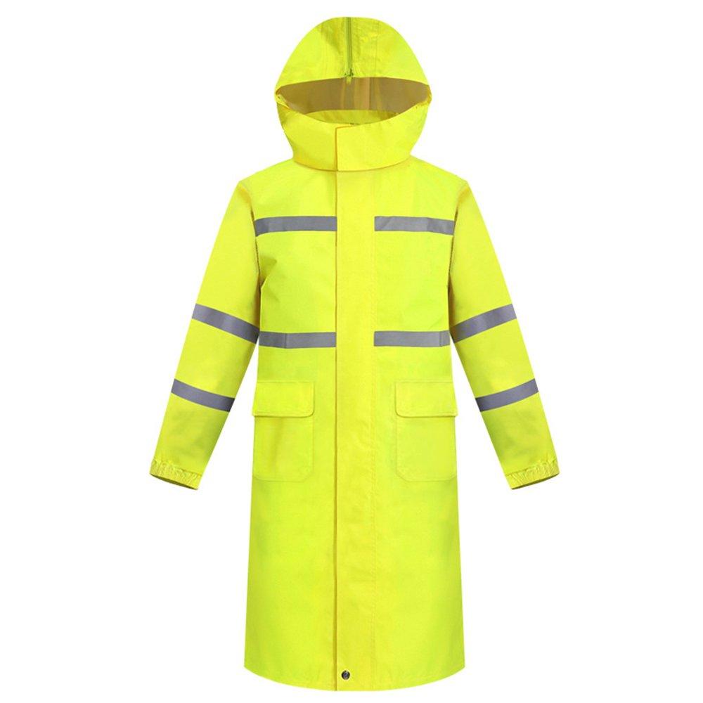 Aihifly tragbar Erwachsen-Leuchtstoffgelb-Verkehr Pflicht-Regenmantel-Männer Langer Absatz Einteiliger Regenmantel-warnender reflektierender Regenmantel (Größe   M)