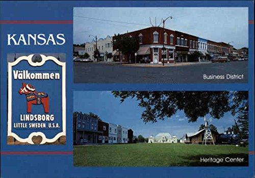 Business District and Heritage Center Lindsborg, Kansas Original Vintage Postcard