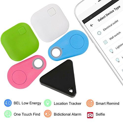 Eccbox Key Finder,Smart Bluetooth Tracker Anti Lost Locator Alarm Wireless Anti-Theft Sensor Remote Selfie Shutter Seeker Finder for Kids, Pet,Wallet, Keys, Car,Smart Phones (Multi-shape-5pcs) by Eccbox (Image #3)