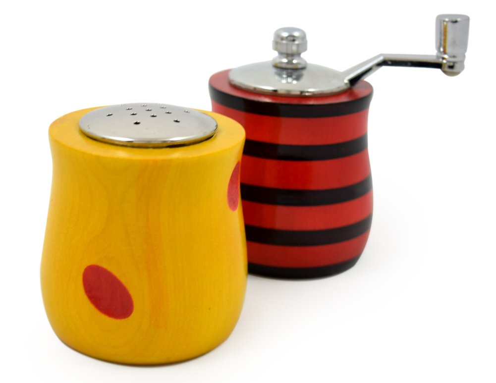 American Made Urban Splash Turned Wood Salt Shaker and Pepper Mill Set: Short Set, Red and Yellow