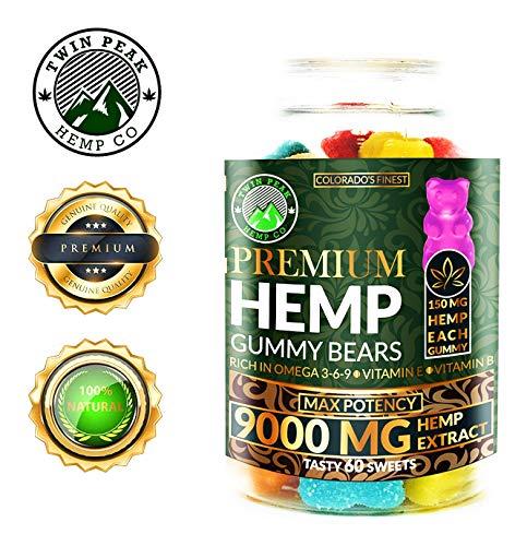 Hemp Gummies Premium 9000 Milligram High Potency - 150 Per Fruity Gummy Bear - Stress Relief, Inflammation, Pain, Restful Sleep, Anxiety, Rich in Omega 3-6-9. Vitamin E and Vitamin B