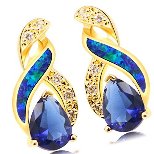 Blue Australian Opal Earrings for Women Sterling Silver Stud Earring Yellow Gold Plated Mystic Topaz Sapphire Women Jewelry