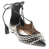 Aquazzura Women's Christy Folk Flat EU 37 (US 7) Leather Black + White EU 37 (US 7) - Size: 7 US