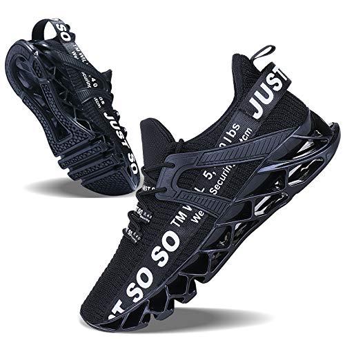 Mens Running Shoes Non Slip Athletic Walking Blade Type Sneakers Black White,US 10