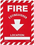 "Jessup 12"" x 9"",  Styrene with Photoluminescent Polyester Film Laminated Glow In The Dark Exit Sign, Red Depicted Text ""Fire Extinguisher"" with Location"