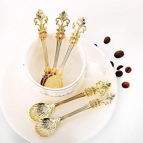 Sthetic Design 12pcs Retro Luxury Royal Style Metal Vintage Tea Spoon - - Teaspoon Shell Royal