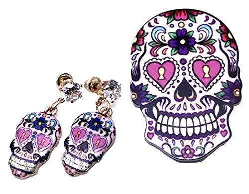 Pizazz Studios Sugar Skull Crystal Dangle Earrings and Pin Set
