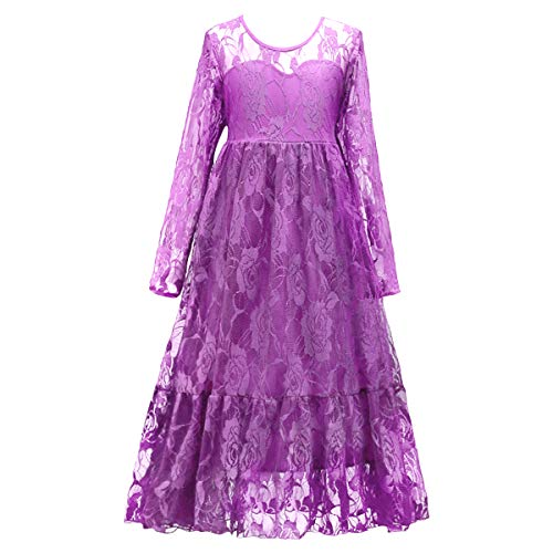Girls Pageant Party Gowns 7-16 Princess Wedding Flower Long Formal Fall Ball Dance Evening Dress Long Sleeve Lace Costume Fuchsia 8-9 Years -
