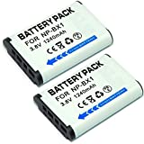 MP power @ 2 x Replacement Battery np bx1 NP-BX1 NPBX1 1240 mAh for Sony DSC-HX90V HX90 WX500 DSC-W500 RX100 III RX1 DSC-RX1, RX100, DSC-RX100 RX100 II, HX300, WX300 Digital Cameras, Sony action cam FDR-X1000VR FDR-X1000V HDR-AS200VT HDR-AS200VB HDR-AS200VR