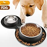 Cheap Petfactors FDA certified Dog Bowls, Stainless Steel Dog Food Bowl with No Spill Non-Skid Silicone Mat 65 OZ Feeder Bowls Pet Bowl for Feeding Dogs Cats and Pets