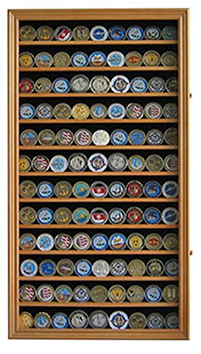Large Military Challenge Coin/Casino Poker Chip Display Case Rack Cabinet, Lockable -Oak Finish (Oak Challenge Coin)