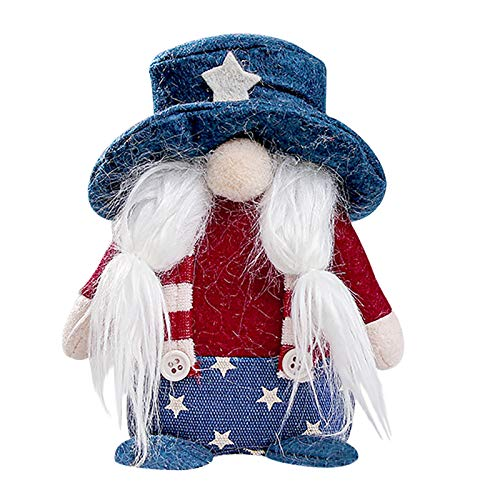 Gerbreif Easter Patriotic Gnome Cute Plush Election Decoration Living Room Desktop Decoration Fashion Gifts (D)