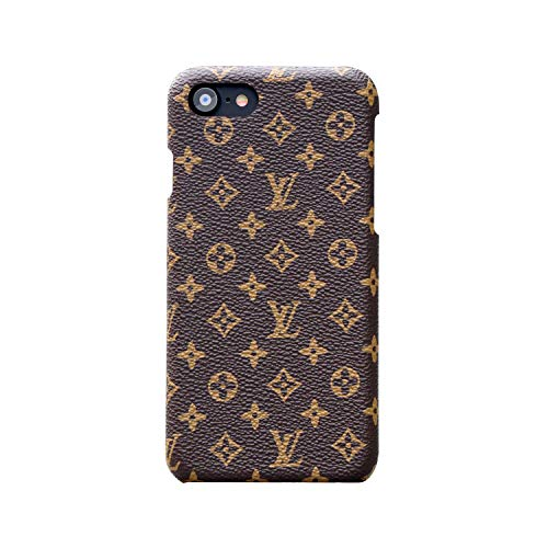 (iPhone 7 Case, iPhone 8 Case, New Elegant Luxury PU Leather Monogram Pattern Classic Style Cover Case for Apple iPhone 7 8 (Small Logo))