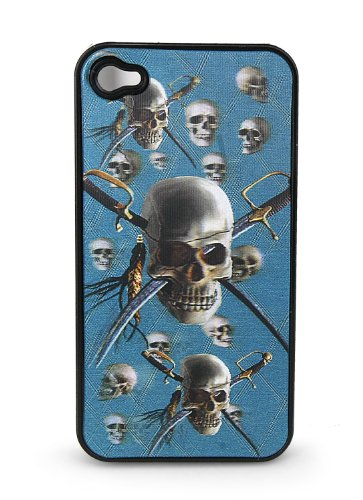 Black Snap-on Cover Case for iPhone 4/4s Cover w/ 3-D Holographic Pirate Skulls