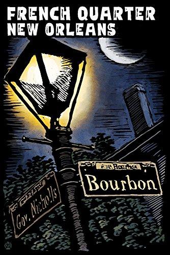 Louisiana Quarters (French Quarter - New Orleans, Louisiana - Bourbon Street - Scratchboard (9x12 Art Print, Wall Decor Travel Poster))