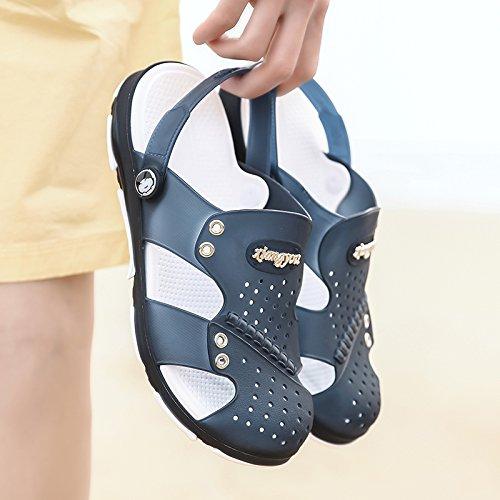 サンダルメンズ穴穴靴ビーチ靴クールスリッパオス夏44ダークブルー B07BFTWSWX
