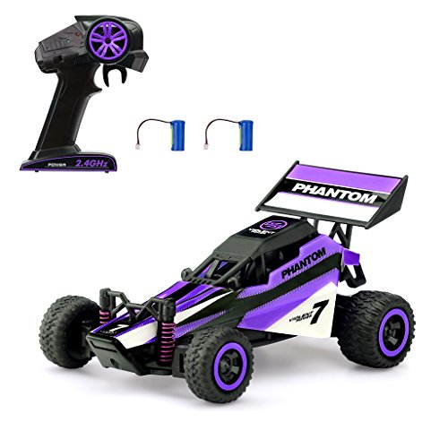 Virhuck 1/32 Mini RC Racing Car 2.4GHz High Speed Off Road Remote Control Car with 2 Batteries and 6pcs Barricades, Indoor or Outdoor Car Toys Gifts for Kids, Purple
