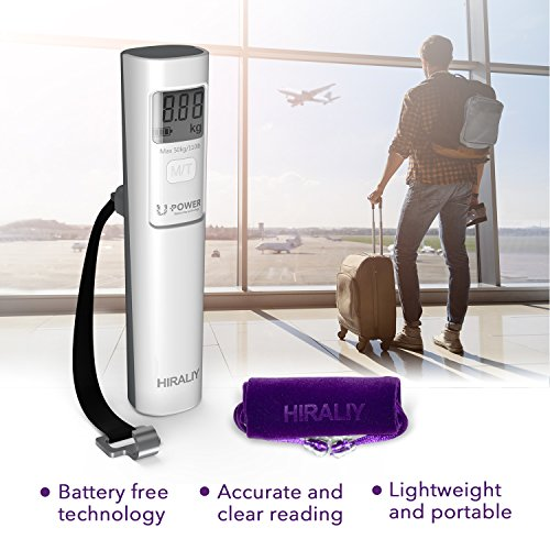 HIRALIY Digital Luggage Scale [No Batteries EVER] Portable Suitcase Weight Scale 110 lb/50kg