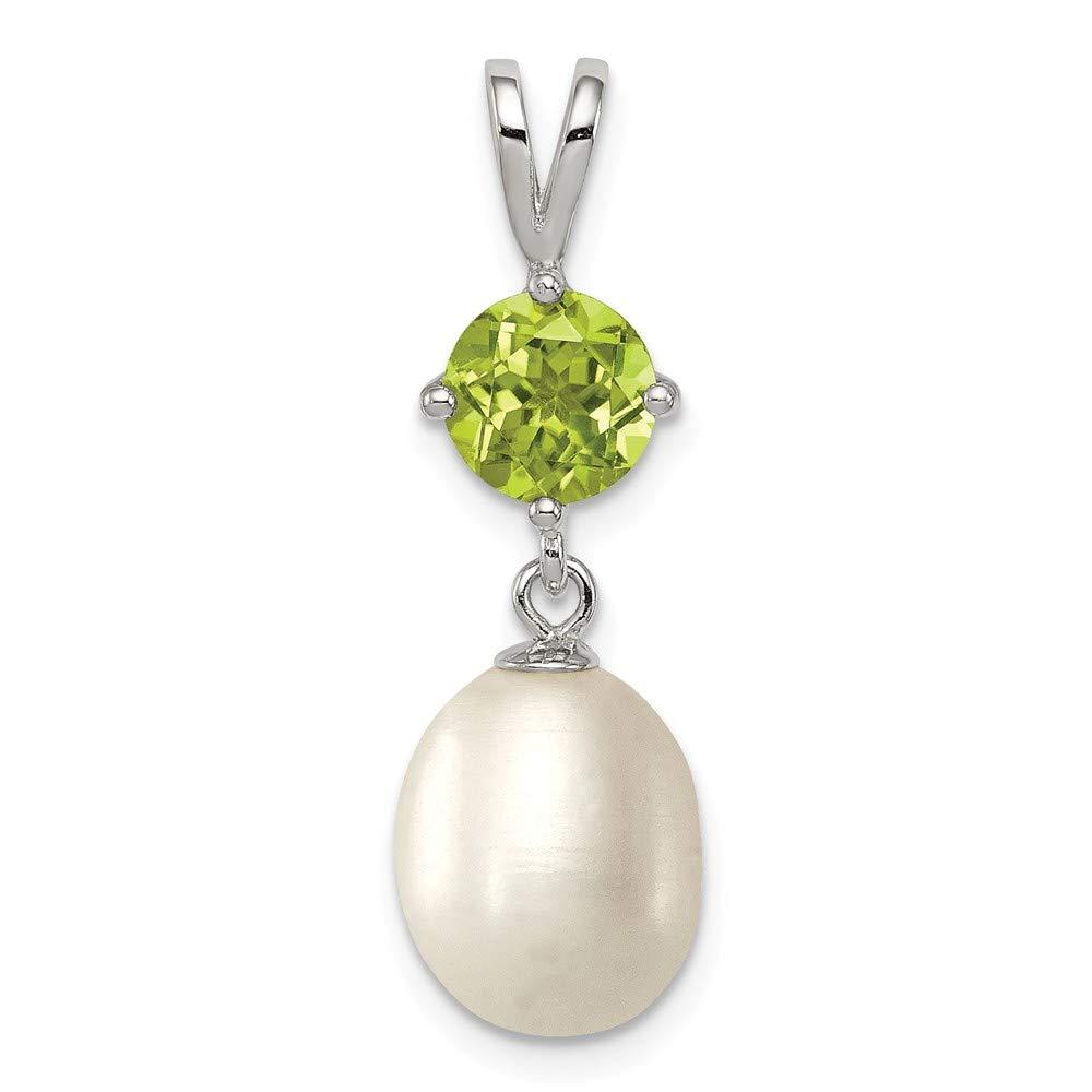 Mia Diamonds 925 Sterling Silver Peridot and 8-9mm FW Cultured Pearl Teardrop Pendant