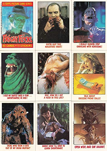FRIGHT FLICKS MOVIES 1988 TOPPS COMPLETE BASE CARD SET & STICKER SET 80 + 11