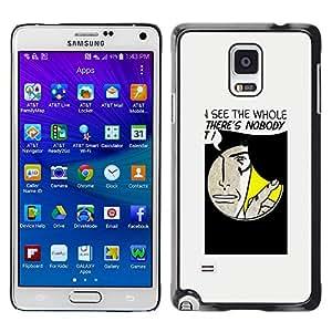 Paccase / SLIM PC / Aliminium Casa Carcasa Funda Case Cover para - Popular Hole Spy Comic Cartoon Art Face Quote Man - Samsung Galaxy Note 4 SM-N910F SM-N910K SM-N910C SM-N910W8 SM-N910U SM-N910