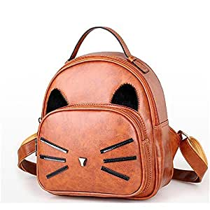 Zaino di Scuola di moda Zaini Daypack Lady PU Leather Girl Cute Cat Cartone animato animale Zaino da viaggio Borse impermeabili per la ragazza Satchel Shoulder Nursery Escursionismo Borsa Sasual Giallo