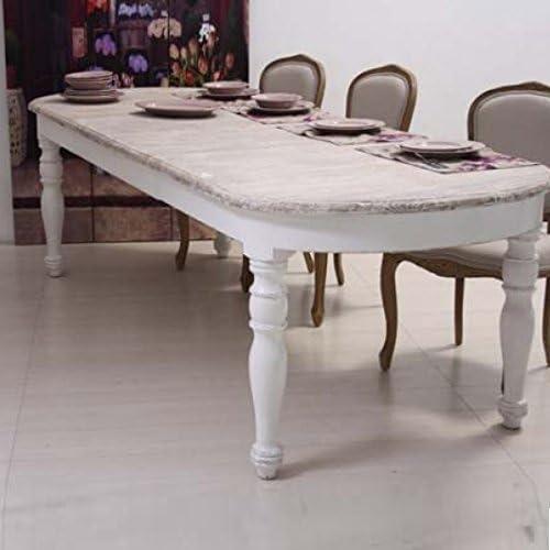 Mesa, estilo shabby chic, blanco, ovalada, extensible hasta 270 cm ...