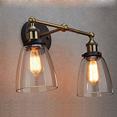 Dazhuan Industrial Vintage Clear Glass Wall Fixture with 2-Lights Oval Cone Wall Lamp Sconce