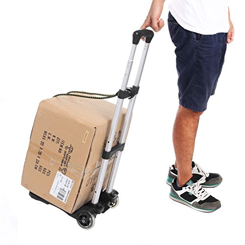 Kemanner Lightweight Folding Hand Truck Portable 2 Wheels Luggage Trolley Cart with Bungee Cord for Personal, Moving, Travel and Shopping Use - Support 80lbs Capacity