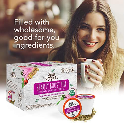 Super Organics Beauty Boost Green Tea Pods With Superfoods & Probiotics   Keurig K-Cup Compatible   Beauty Tea, Skin Care Tea   USDA Certified Organic, Vegan, Non-GMO Natural & Delicious Tea, 72ct by Super Organics (Image #5)