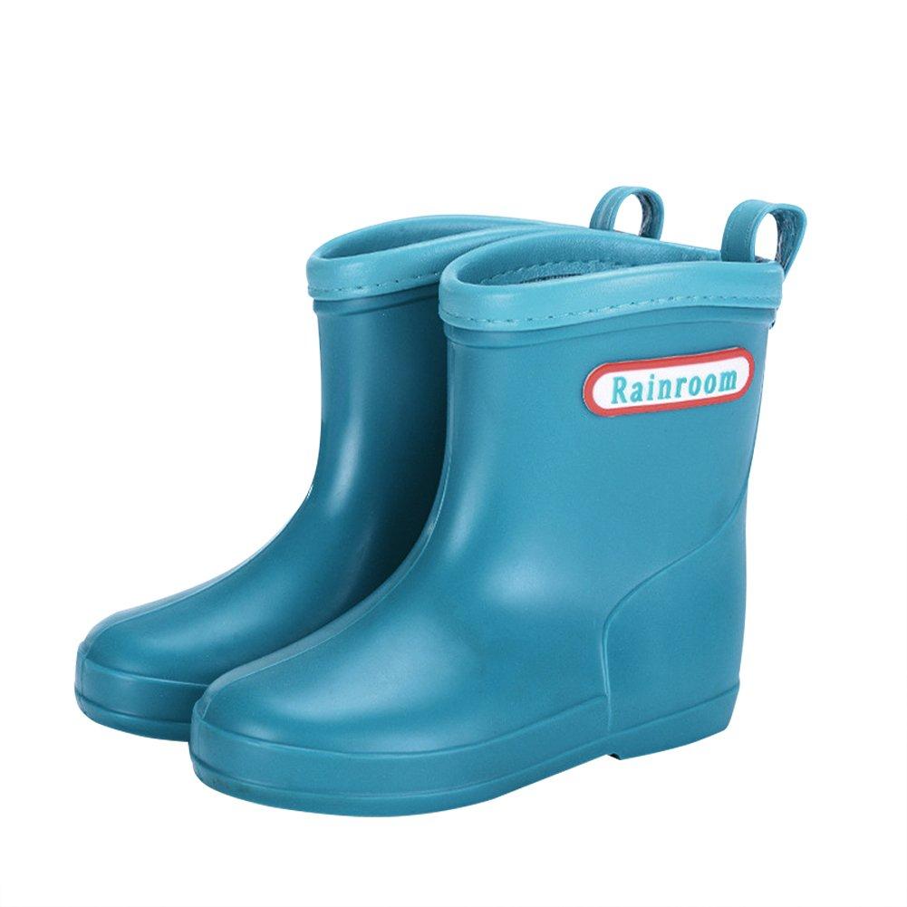 Chiximaxu Waterproof Solid Fashion Rubber Rain Boots for Boys Girls,Lake Blue Toddler Size 8